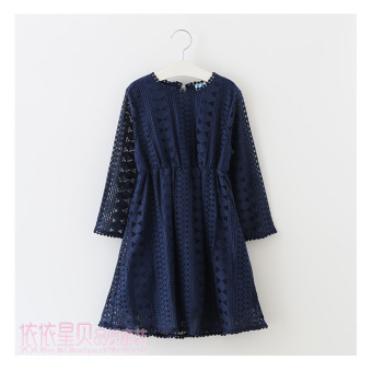 Girls Spring and Autumn New style dress (Dark blue color)