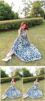 Grandwish Women Bohemian Dress Sleeveless Flower Pattern Printing (Blue) - 5