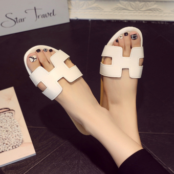 H New style non-slip flat with Korean-style sandals and slippers shoes (Black)