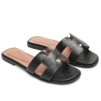 H Shishang female outerwear flat sandals slippers (Black)
