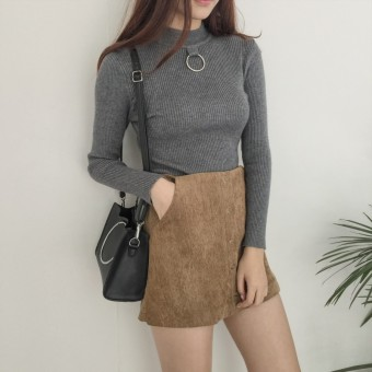 Hair female pullover Slim fit bottoming shirt knit shirt (Gray)