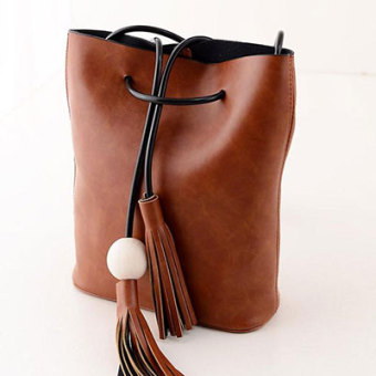 Harga Han Chao pumping with shoulder spring and New style tassel bucket bag (Shallow brown) (Shallow brown)