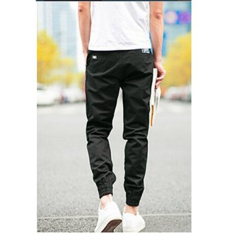 Hanyu Cotton Solid Causal Trouser Pants for Men Navy Black - 3