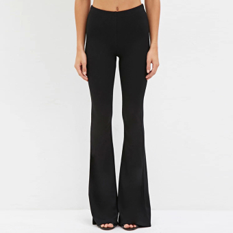 Haoduoyi Slim fit high waisted stretch loose Korean-style trousers (Black)