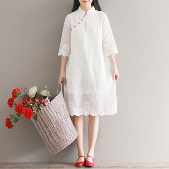 Harga Heavy Work embroidery flower loose improved cheongsam dress Dress