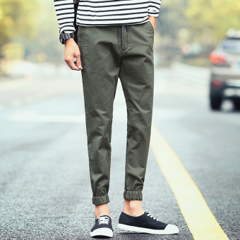 I Korean-style men elastic students harem pants ankle-length pants (Army Green)