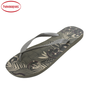 Harga Havaianas counter new 2016 men's broadband Aloha series word slippers Havana (Deep khaki)