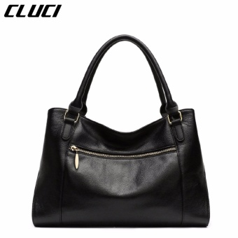 CLUCI Women's Genuine Cowhide Leather Handbag Casual Shoulder Bag Black - intl - 2
