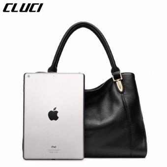 CLUCI Women's Genuine Cowhide Leather Handbag Casual Shoulder Bag Black - intl - 5