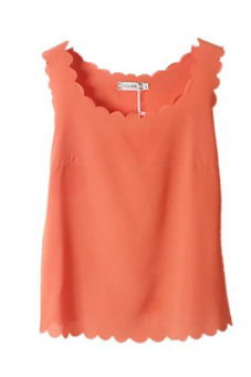 Harga Chiffon Sheer Scallop Crop Tank Top Vest (Orange Red)