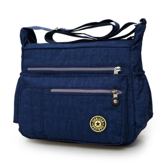 Harga Nylon oxford cloth canvas bag lady shoulder bag messenger bag casual large capacity travel bag new mom bag (Zang blue)
