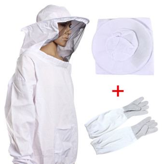Harga Protective Bee Keeping Jacket Veil Suit +1 Pair Beekeeping Long Sleeve Gloves NEW - intl