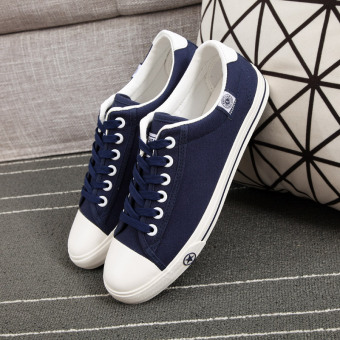 Harga Global Harajuku flat ulzzang canvas shoes men microfiber student Korean-style shoes wild Cool white shoes (43 + Blue cloth 16726)