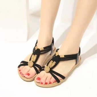 Harga 2016 Summer Boho Women Fashion Sandals Fish Mouth Sandals Large Size Shoes (Black) - intl