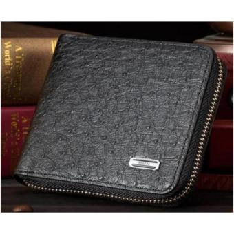 Harga Wallet With Zipper PU Leather (Black)