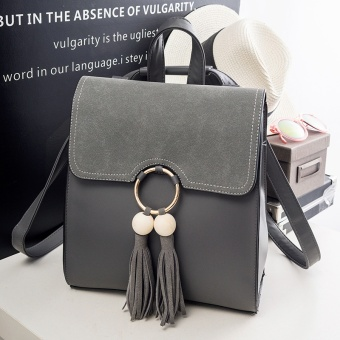 Harga Shoulder Bag female Korean-style fashion Cool wild tassel casual campus women bag 2017 New style tide backpack (Advance sale gray [3 days])