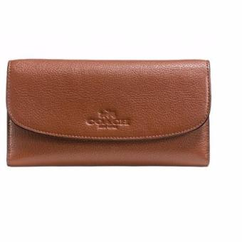 Harga COACH CHECKBOOK WALLET IN PEBBLE LEATHER (SADDLE)