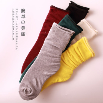 Korea cotton socks piles of socks candy solid color socks spring and autumn socks curling tide boots socks month (White)