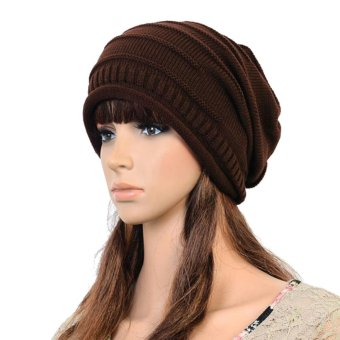 Woen en War Ski Knitted Crochet Baggy Beanie Hat Cap Beret Coffee