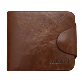 Harga Mens Leather Bifold Card Holder Wallets(Brown)