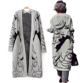 Women Long Sleeve Sweater Knitted Cardigan Abstract Pattern Print Thickening Batwing Sleeve Sweater Outwear Jacket Coat WKS0022 - intl