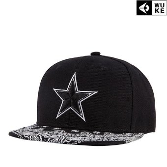 Harga Victory Fashion Man New Hats Pentagram Embroidery Flat edge cap Hip hop Baseball cap(Black) - intl