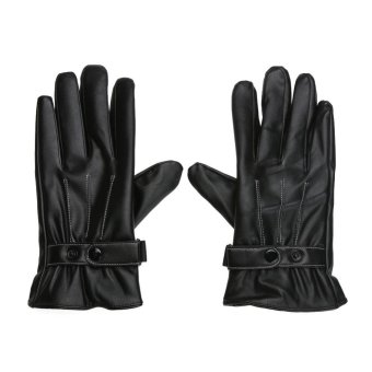 Men Winter Warm Mittens Lined Fleece Black Faux Leather Touch Gloves - intl