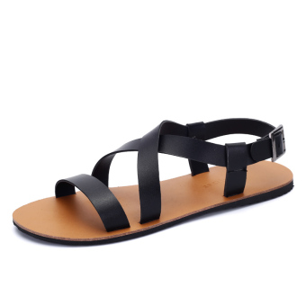 Harga ZNPNXN Leather Men's Fashion Sandals (Black)