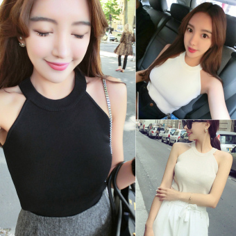 Summer New style Korean-style sexy off-the-shoulder halter vest female Slim fit Slimming effect wild sleeveless short paragraph bottoming Top tide (Black)