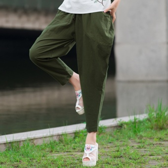 Harga Spring and summer New style Plus-sized loose HarLan pants female Linen radish pants linen literary fan button feet pants female (Army green)