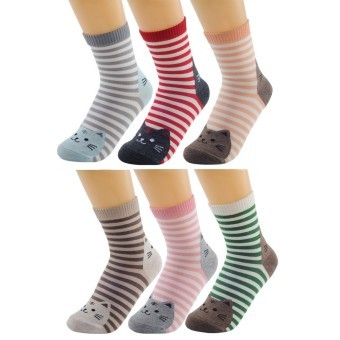 6 Pairs of Women Ladies Girls Mixed Colors Striped Cartoon Animals Cat Pattern Socks Winter Thick Warm Socks