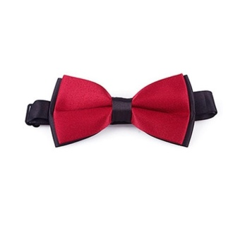 Harga High Quality Store New Fashion New Mens Plain Bowtie Polyester Pre Tied Wedding Bow Tie