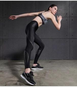 Vansydical Women Power Speed Flash Compression Long Pants (Black) - 4