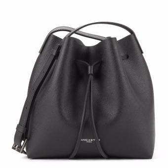 Lancaster Saffiano Leather Small Bucket Bag (Black)