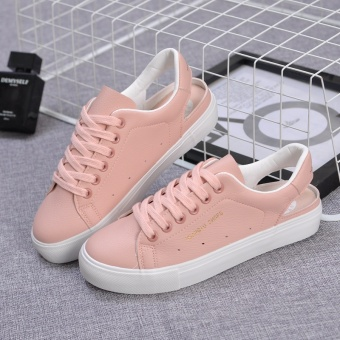Harga Universal summer 17 New style sweet white shoes female gel heel hollow breathable casual shoes female student sports shoes (Pink)