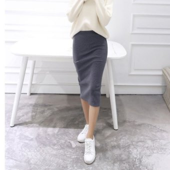 Harga Knit skirts long section of the spring and autumn wool skirt slit skirt package hip skirt step skirt high waist skirt female skirt (Dark gray)