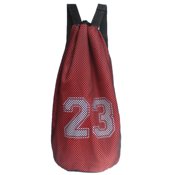 Men and women outdoor sports basketball bag basketball shoes bag training shoulder bag drawstring beam port fitness bag soccer net bag (23 red)