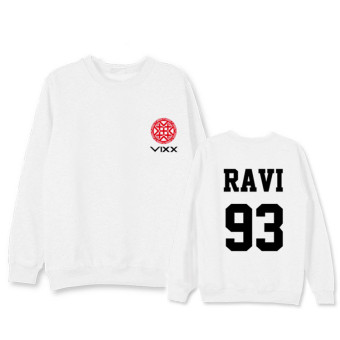 Harga Vixx car school Huan Zheng Ze Yun album Taoyuan Habitat concert will be same paragraph letter sweater round neck hedging shirt should aid clothes (Ravi white)