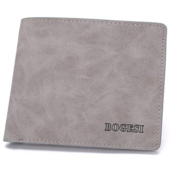Harga New men's wallet card package short leather wallet male -grey - intl