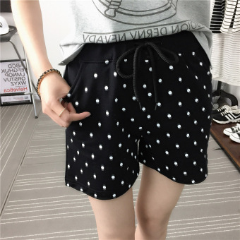 Harga Ms. summer sports shorts jogging pants outer wear cotton shorts beach pants korean version was thin loose big yards (Black)