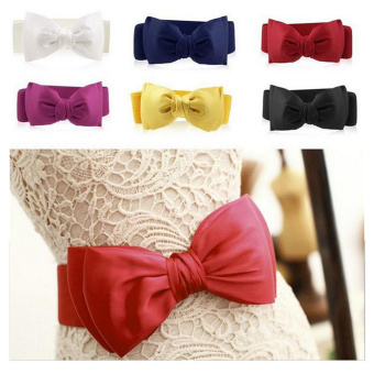 ... New Women Girls Graceful Bowknot Elastic Lovely Belt With Buckle Source Red Elastic