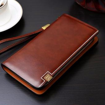 Harga Brand Designer Top Cowhide Leather Men's Long Wallet Clutch Wrist bag black wallets and purses card holder(brown) - intl