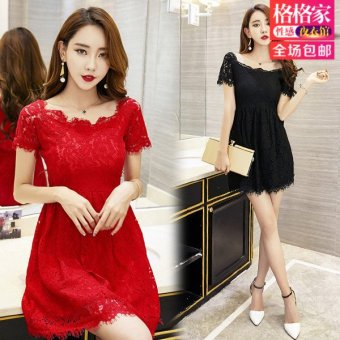 Harga Princess house 2017 summer new nightclub sexy slim was thin lace collar short sleeve dress (Red)