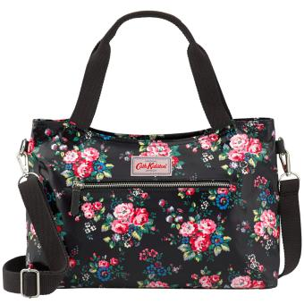 Harga Cath Kidston zipped handbag with detachable strap (Black spray flower)