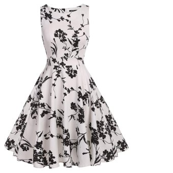 Harga HYW Vintage Classy Floral Sleeveless Party Picnic Party Cocktail Dress - intl
