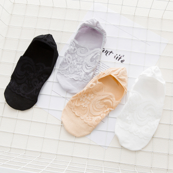 3 pcs= foot lace pattern cotton socks female socks shallow mouth invisible socks