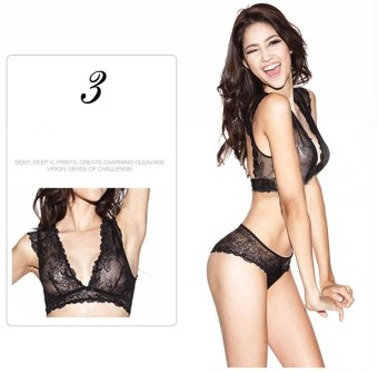 Harga Underwear for women sexy bra set lace thin see through bras wireless U.S back plunge bra and panty set 36B(Black) - intl