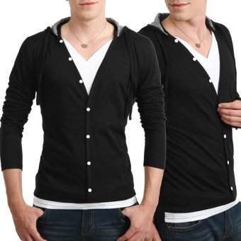 Fashion Men Long Sleeve Hooded Button Casual T-shirt Black