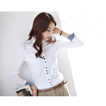 Harga Ms. long-sleeved female Plus-sized work clothes