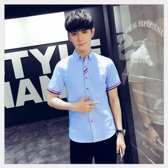 Harga TS A new men's casual short-sleeved shirt with a large size and size shirt - intl